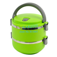 Ceramic Dinnerware Sets Eco-Friendly Green Double Layer Stainless Steel Children Lunch Box 1.4L Keep Warm Food Container For Kids 15038