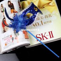 Wholesale Women s Masquerade Mask On A Stick Wedding Party Venetian mask Mask Black Blue more Color option sequin stick mask