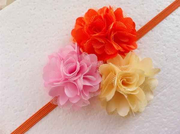 Tres acoplamiento del satén de Tulle del soplo de la flor de los niños juntos vendas