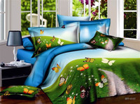 Wholesale Butterfly blue green korean comforter bedding set queen for adults comforters duvet cover quilt bed sheet bedspread bedsheet