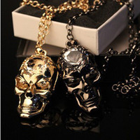 Gold, black gun crystal diamond skull - European and American trade jewelry diamond crystal skull long sweater chain necklace new heavy attack
