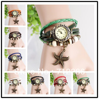 Wholesale 2014 New lady vintage Starfish sea star for Women Genuine Leather Vintage Watch bracelet Wristwatches drop shipping