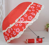 Wholesale Fashionable Six Colors Archy Flower Lace Folding Anti ultraviolet Sun Rain Princess Umbrella