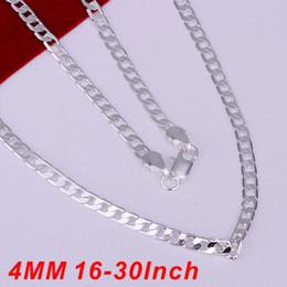 Promotion Fashion 925 Silver Men Figaro Chain Necklace Jewelry Charms Silvering 4MM Men Chain Mix 16--30inch Size Jewelry