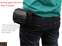 Wholesale New men s genuine leather casual small cheap mobile phone waist purses design small fashion belt shoulder bag strap pouch pack MZ3151