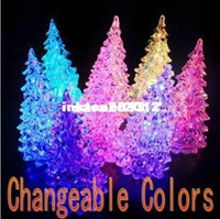 Wholesale DHL EMS Freeshipping LED Christmas crystal tree night lamp Color Changeable Halloween Trees Decoration