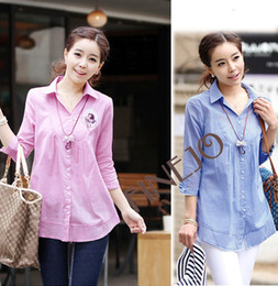 Wholesale New Korea Ladies Women s Clothes Sleeve Top Lapel Shirts Two Color