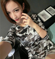 Women Round Fashion Tee Hot Sale Autumn Winter Korean camouflage long sleeve T-shirt Korean Slim personality Round collar T-Shirts