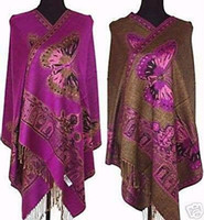 Wholesale Hot Sale Lady s Double Side Pashmina Silk Purple butterfly Wrap Shawl Scarf