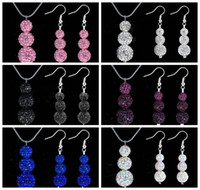 Wholesale Hot sales Shamballa Sparkling mm mm MM Disco Pave Ball Crystal Beads Shamballa Pendant Necklace Drop Earring Jewelry Set sets