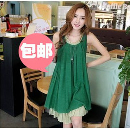 Wholesale New Arrival Korean new fashion maternity summer wear loose chiffon pregnant women pregnant vest dress skirt of pregnant women dress
