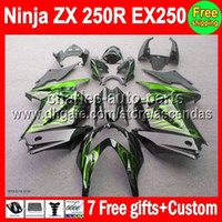 Comression Mold For Kawasaki Ninja ZX250R 7gifts+HOT For Kawasaki Ninja ZX 250R green flames 08-12 ZX250R EX 250 17#127 EX250 2008 2009 2010 black 2011 2012 08 09 10 11 12 Fairing