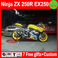 Comression Mold For Kawasaki Ninja ZX250R yellow black 7gifts+HOT ZX250R For 2008 2009 2010 2011 2012 Kawasaki Ninja EX250 17#95 ZX 250R EX 250 08-12 08 09 10 11 12 yellow Fairing