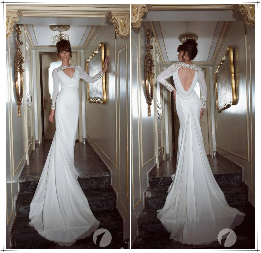 New 2014 backless wedding dresses white lace high neck for Lace sleeve backless wedding dress