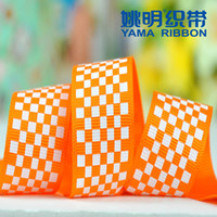 Wholesale Retail Orange Grid Gift Wrapping Grosgrain Ribbon DIY Accessories Handcraft Party Decor Bow MM