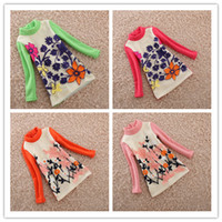 Wholesale 2014 Spring Children Girls Flocking Smocked Long Sleeve High Collar Four Colors Tess Shirts Dresses Baby Velvet Warm Basic Clothes B2392