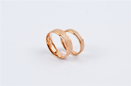 Wholesale Couple Brand Ring Stainless Steel - Hot brand shiny frosted sand couple rings silver gold black color 316L stainless steel fashion lovers wedding finger rings jewelry