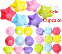 Wholesale 5 styles Tin Liner Baking Cup Mold Mould pudding cup Silicone Cake Muffin Chocolate Cupcake Case