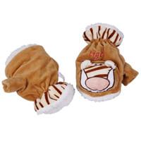Wholesale Fashion Winter Warm Unisex Cute Tiger Plush Animal Design Gloves Mittens DLM2