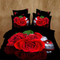 Wholesale Unique D Red Rose comforter covers queen size girl flower bedding set duvet cover bed sheet bedclothes cotton home textile