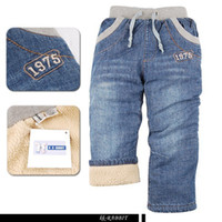 Wholesale High quality children s clothing brand KK RABBIT thickening lamb flocking kids Boys baby jeans thick cashmere pants winter wear