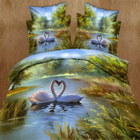 all applicable beautiful cleaning fashion - Sales promotion Factory direct sale D Swan lake bedding not fade beautiful scenery set of four at fire sale fashion