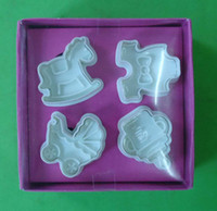 Plastic baby candy molds - Cake Mold Fondant Tools Embossing Printing Mould D Pony Baby Carts Candy Chocolate Decorating Molds Set