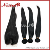 Brazilian Hair Straight 12-34inch 100% Brazilian Virgin Human Hair Bundles 1 Pc 3 part Lace Top Closure With 3pcs Hair Bundles Brazilian Remy Unprocessed Hair Extensions