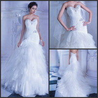 A-Line Reference Images Sweetheart Strapless wedding dresses Tulle pleating beading Sweetheart multi layered wedding dress wedding gowns Bridal Dress 2015 Demetrios Ilissa 553