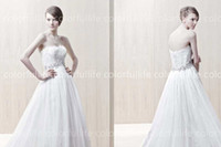Wholesale 2014 A line Sexy Strapless Crystals Beaded Applique Wedding Dresses Ghislaine Empire Bridal Gown