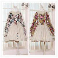 Wholesale Cotton Peony Printed Lace Borders A Line Children Girls Long Sleeve Princess Party Dresses Floral Sweety Spring Dress B2395