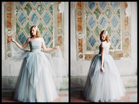 Wholesale Charming Of Shoulder Ball Gowns Grey Tulle Wedding Dresses For Bridal Gowns Online Shop