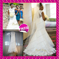 Sheer High Neck Lace Tulle Mermaid Plus Size Wedding Dresses...