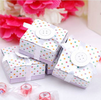 Wholesale 6 cm Lovely Color Dots Painting Candy Box with Button Paper Gift Package Party Favors CK104