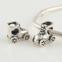 Wholesale Hot Sale Sterling Silver Roller skates Shoe Bead Charm Fit DIY Bracelets