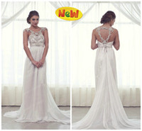 Sheath/Column Reference Images Halter 2014 Anna Campbell Beaded Halter Backless White Greek Goddess Sheath Wedding Dresses Sweep Train Chiffon Church Garden Bridal Party Gowns