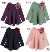 Wholesale Hot Sale Spring Childrens Long Sleeve Princess Dress Solid Petals Plain A line Mini Dress
