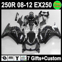 Wholesale 7gifts ALL black For Kawasaki Ninja ZX R EX250 EX Q373 gloss black ZX250R Fairing On sale