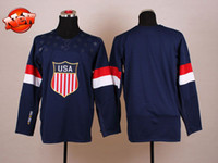 Ice Hockey Men Full 2014 USA Olympic Jersey Navy Blue Blank Team USA Athletic Jerseys Outdoor Apparel Ice Hockey Jerseys Men Jersey New Arrival Sports Wears