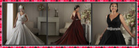 Wholesale Romantic Simple Wedding Dresses A Line Court Train Ivory V Neck Beaded Bows Satin Wedding Gowns Red Wine Black Church Garden Wedding