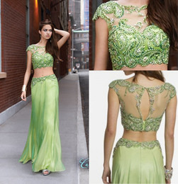 Camille La Vie 2018 Green Two Piece Prom Dresses Crew Capped Sleeve Dress Beaded Sheer Back Crystals Indian Style Long Formal Gowns