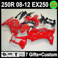 Wholesale 7gifts For factory red Kawasaki Ninja R EX250 EX Q37 ZX250R ZX R all red Fairing On sale