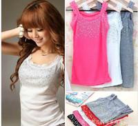 Wholesale price colors New Hot Ladies lace beaded Cotton Tank Tops Vest T shirt