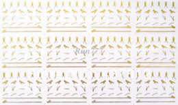 Wholesale 12 Sheets NEW Gold D Nail Art Stickers Metallic Gold Zipper Zips