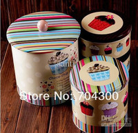food storage tins - 3 set cake storage food box container Jumbo Choco chip Design Cookie Jar Candy Can Home tin