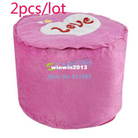 Wholesale New Bedroom Pink Love Heart Villus Inflatable Stool Pouf Chair Seat Gas Stool Sit With Pump