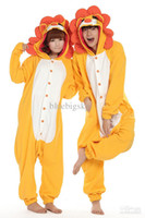 Anime Costumes Unisex Animal Wholesale - Lion King Onesie Kigurumi Cosplay Animal Costume Adult Winter Pyjamas size S-XL