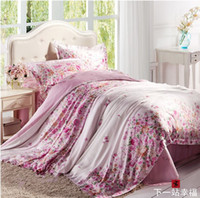 Wholesale New Arrival Tencel bedding set home textile red floral comforter covers queen king size pink silk Duvet cover bed sheet bedclothes sets