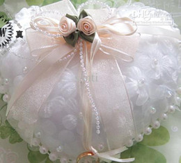 Wholesale HOT SELL Applique and Pearl Satin Wedding Ring Pillow Wedding Favor