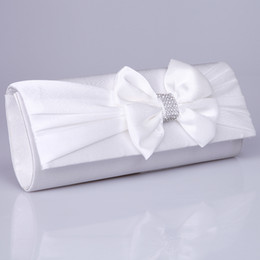 Wholesale No Risking Cheap In Stock Shoulder Bags Wedding Accessories Red White Satin Bow Party Prom Bride Purse Bridal Hand Bags Handbags BH32